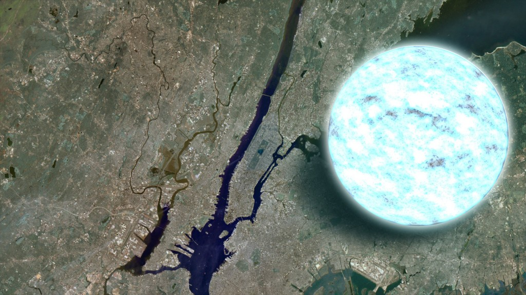 neutron star compared to Manhattan. Credit: NASA/Goddard Space Flight Center