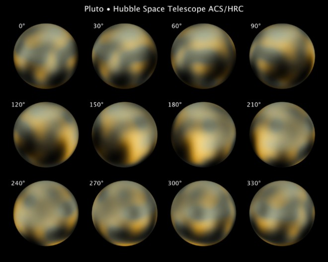 Pluto as seen by Hubble. NASA, ESA, and M. Buie (Southwest Research Institute)