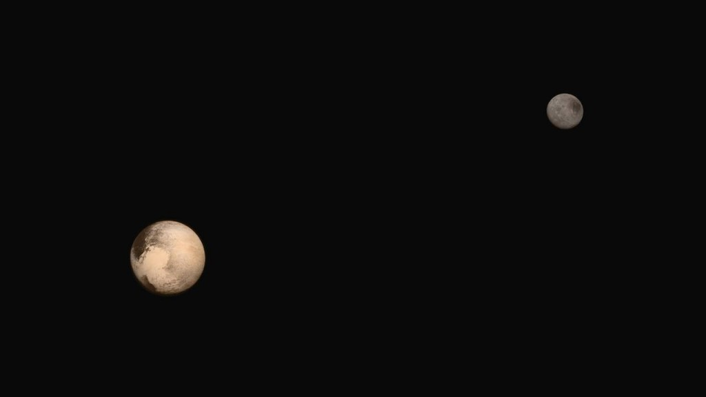 Portrait of Pluto and Charon together! The latest two full-frame images of the dwarf planet and its largest moon were collected separately by our New Horizons spacecraft during approach. The relative reflectivity, size, separation, and orientations of Pluto and Charon are approximated in this composite image, and they are shown in approximate true color. Image Credit: NASA/JHUAPL/SWRI Read more.