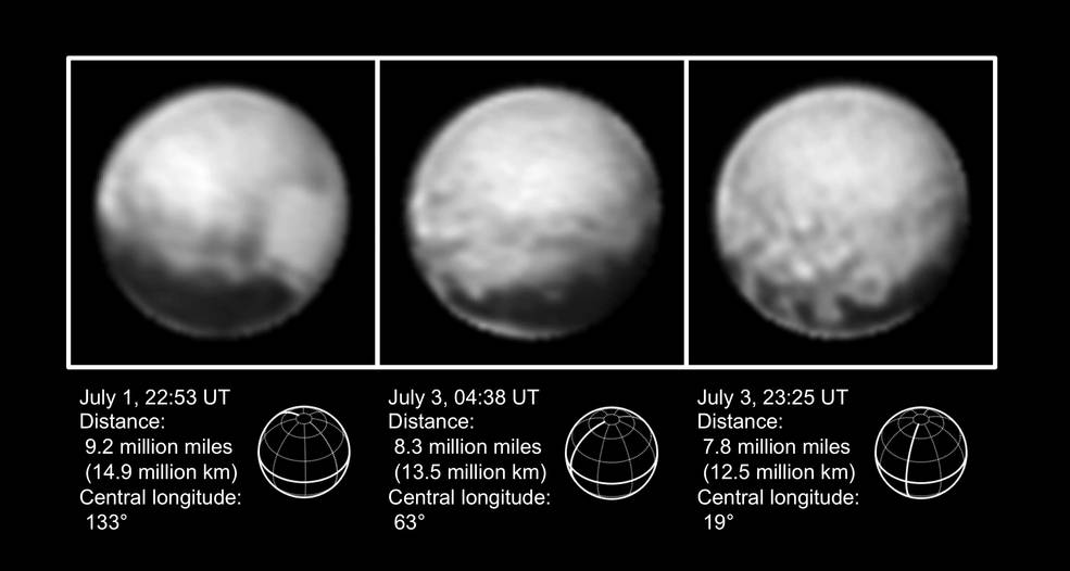 Pluto, July 1 and 3