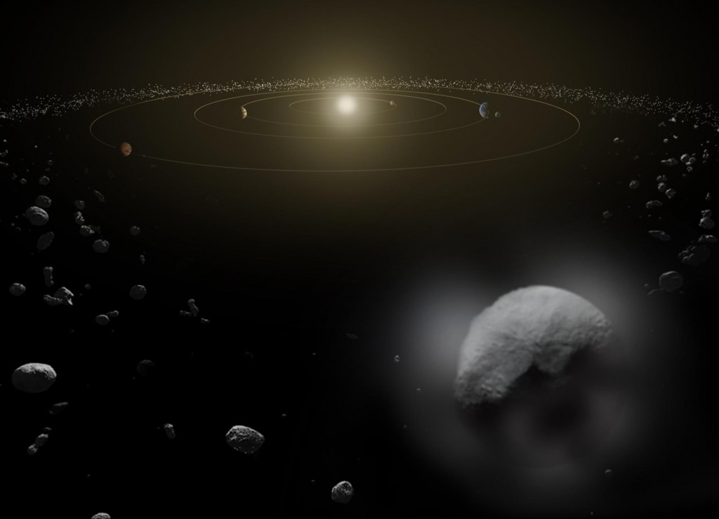 Artist impression of the asteroid belt and Ceres. Credit: ESA/ATG media lab
