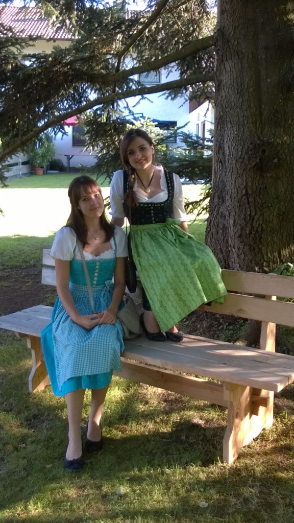 Daniela and Verena in traditional German costumes.