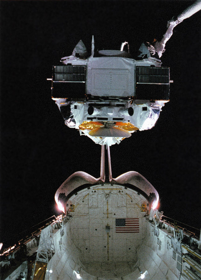 CGRO being deployed via space shuttle
