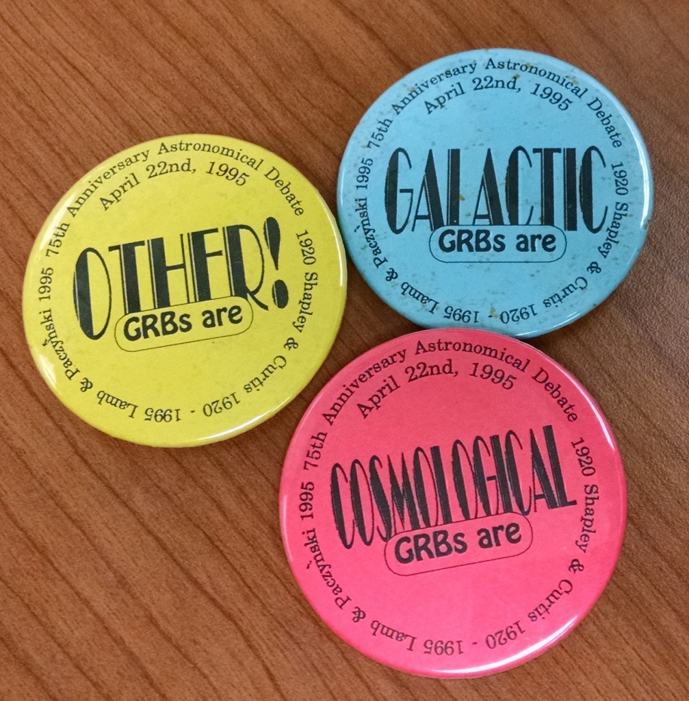 In 1995, astronomers held an event to debate the scientific evidence about the distance to gamma-ray bursts. At the time, it was unclear whether they originated in our galaxy or beyond. At the debate, scientists were given a set of badges so that they could display which side of the debate they were on - galactic, cosmological or other.