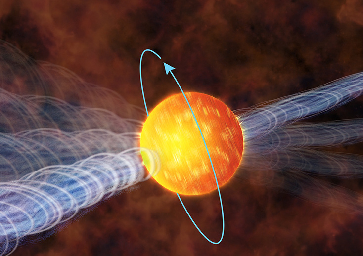 Pulsars appear to pulse due to their rotation. A hot spot or beam of light emitted from the surface blinks in and out of our line-of-site as the pulsar rotates. Credit: NASA's Goddard Space Flight Center