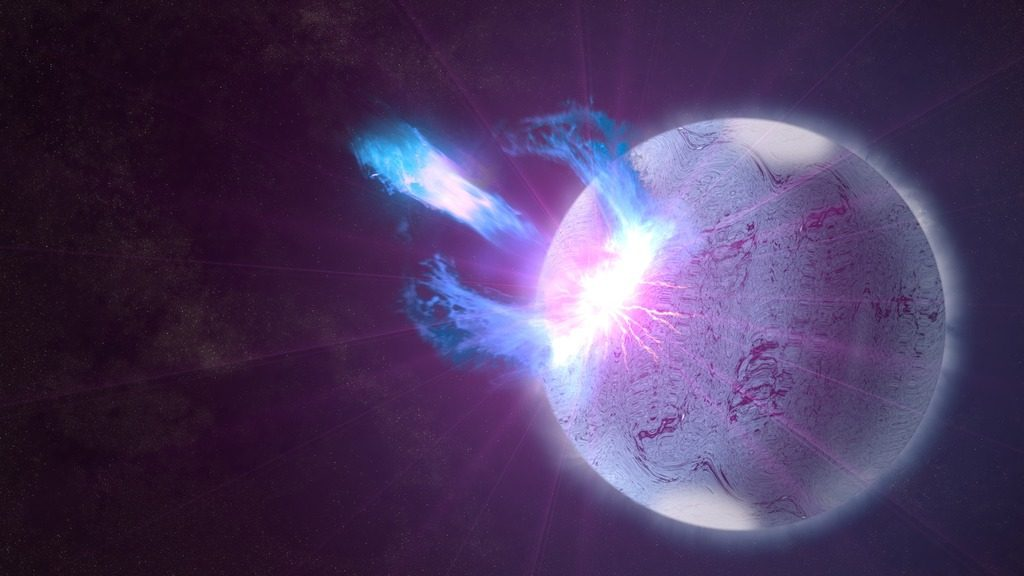 A rupture in the crust of a pulsar, shown here in an artist's rendering, can trigger high-energy eruptions and disrupt the pulsar signal in what we call a glitch. Credit: NASA's Goddard Space Flight Center/S. Wiessinger